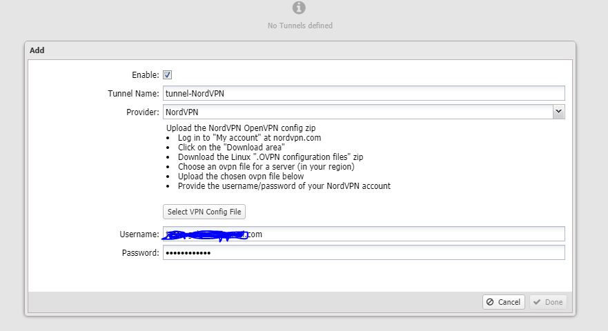 Adding tunnel after uploading OVPN file, user & pass, DONE